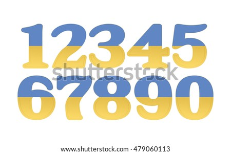 mathematics numeral blue and yellow, white background