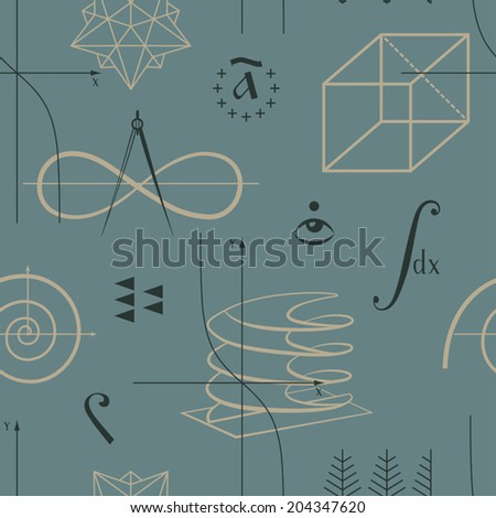 Mathematics seamless pattern with functions and geometric shapes and various mathematical symbols vector - stock vector