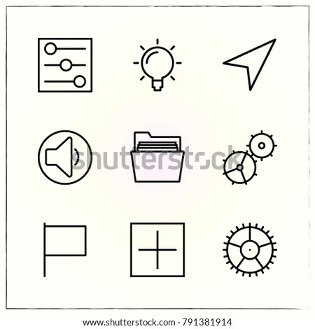 Matherial Design line icons set gear and flag