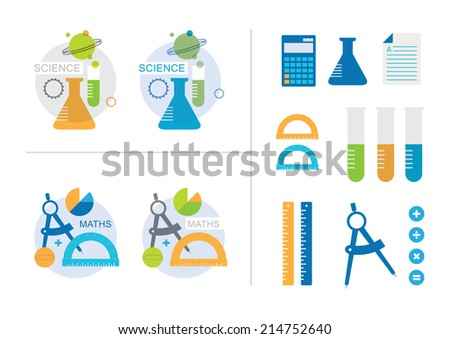 Maths and Science Icons - stock vector