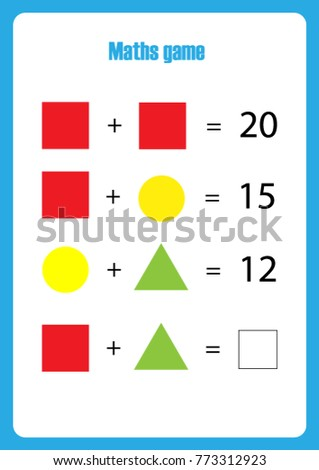 Maths Game Pictures Geometric Shapes Children Stock Vector 773312923 ...