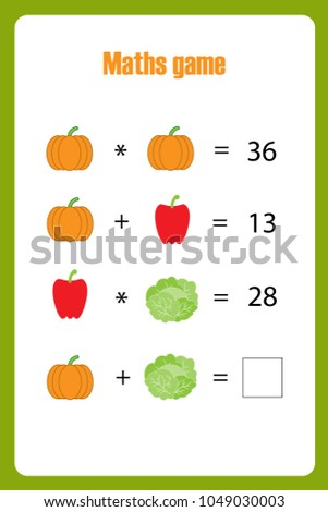 Maths Game Pictures Vegetables Children Middle Stock Vector ...