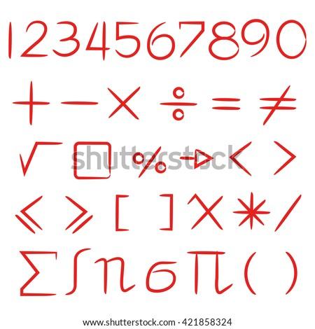 maths sign vector set, number - stock vector