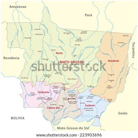 Mato Grosso Administrative Map Stock Vector 223903696 Shutterstock