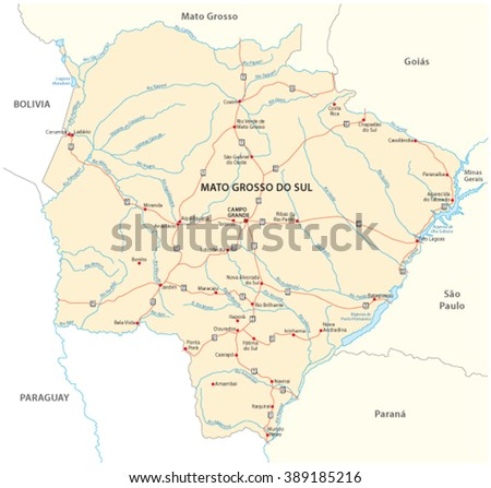 Mato Grosso Do Sul Road Map Stock Vector 389185216 Shutterstock