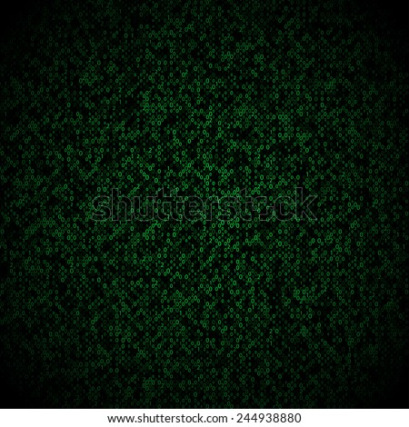 Matrix background with the green symbols, motion blur. Vector illustration - stock vector