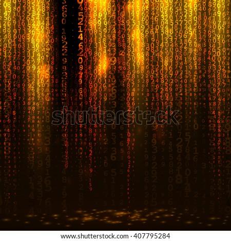 Matrix digital yellow background, falling digits - stock vector