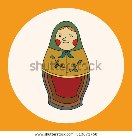 Matryoshka, Russian traditional wooden doll, vector pattern, elements,eps