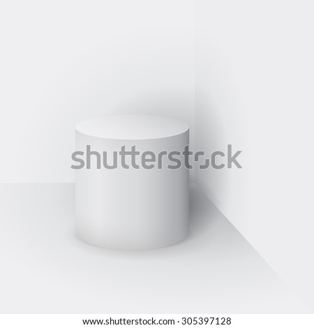 Matt White cylinder  with shadow. Vector illustration