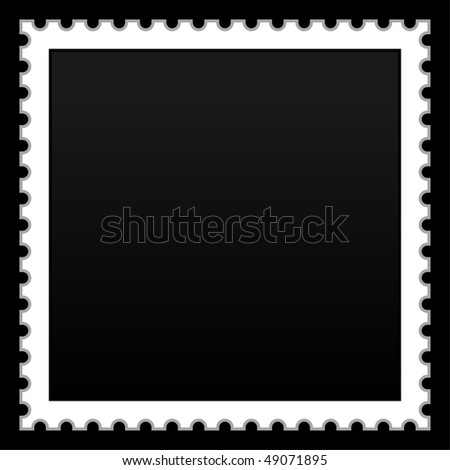 Matted black blank postage stamp on black background - stock vector