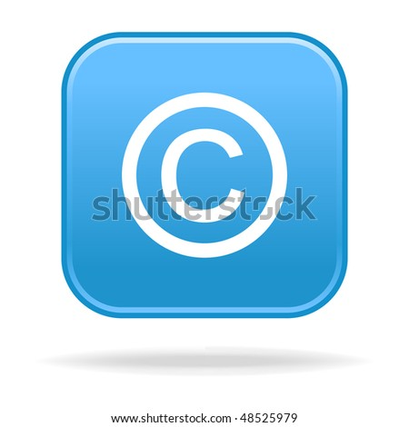 Matted blue rounded squares buttons with copyright symbol and drop shadow - stock vector