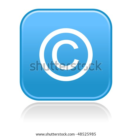 Matted blue rounded squares buttons with copyright symbol and gray reflection