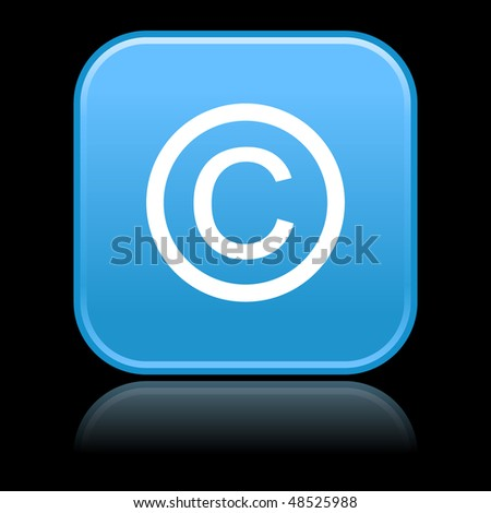 Matted blue rounded squares buttons with copyright symbol and reflection on black background