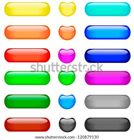 Matted colored blank web buttons on white background.