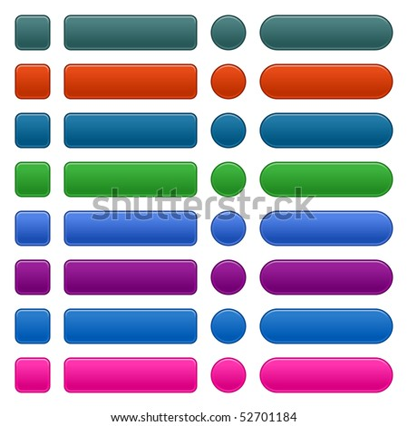 Matted colored long blank web buttons on white - stock vector