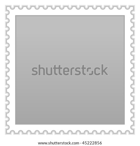 Matted gray blank postage stamp with shadow on white background - stock vector