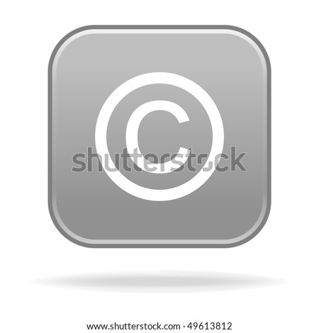 Matted gray rounded squares button with copyright and drop shadow on white