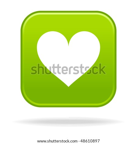 Matted green rounded squares buttons with heart symbol and drop shadow on white - stock vector