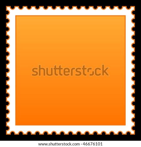 Matted orange blank postage stamp on black background - stock vector