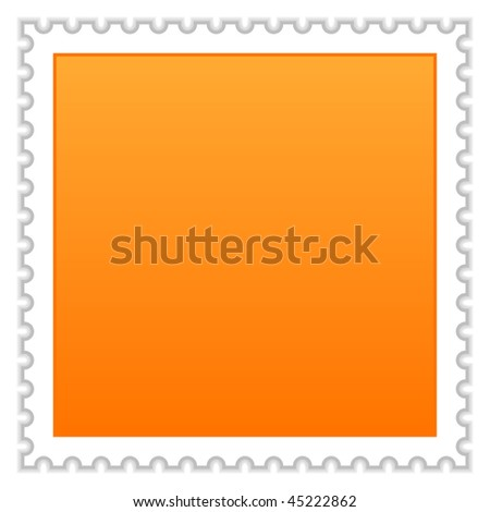 Matted orange blank postage stamp with shadow on white background - stock vector
