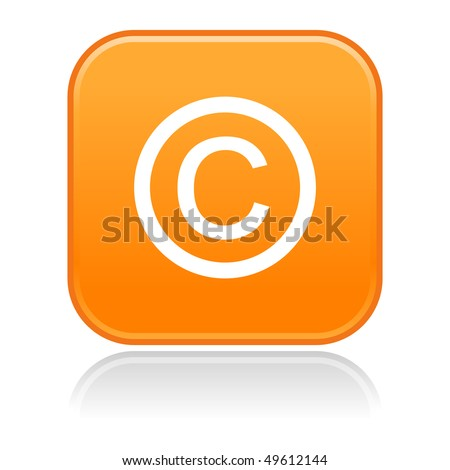 Matted orange rounded squares button with copyright and gray reflection on white
