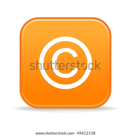 Matted orange rounded squares button with copyright and shadow on white