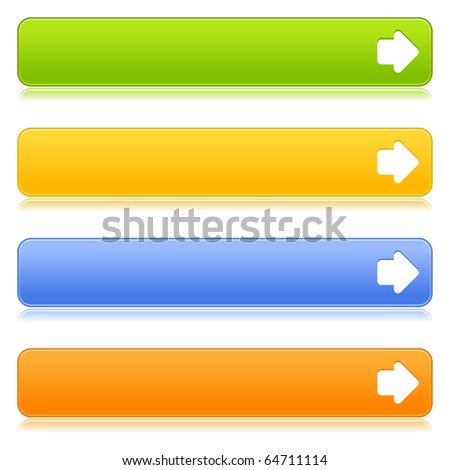 Matted satin colorful web 2.0 buttons with arrow sign and reflection on white background - stock vector