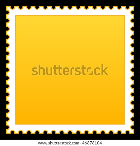 Matted yellow blank postage stamp on black background - stock vector