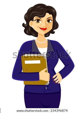 mature business woman smiling with confidence - stock vector