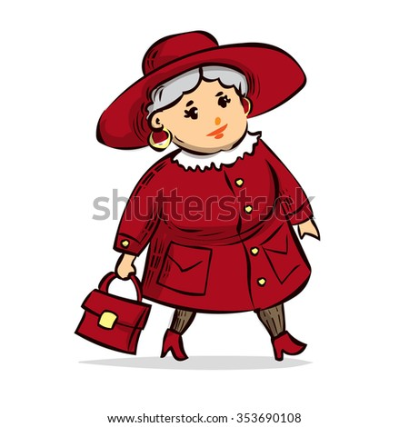 Mature Fat Lady Coat Hat Hand Stock Vector 353690114 - Shutterstock