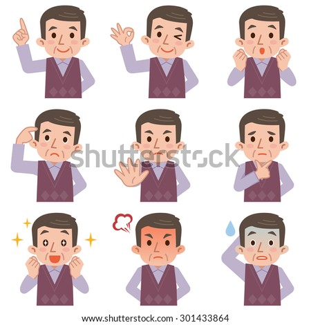 mature man face expressions composite isolated on white background - stock vector