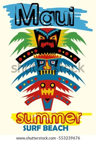 Maui Summer Surf Beachcartoon Tikis Tshirt Stock Vector ...