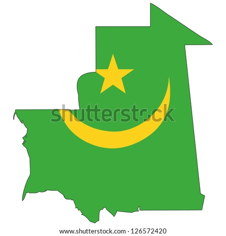 Mauritania vector map with the flag inside.