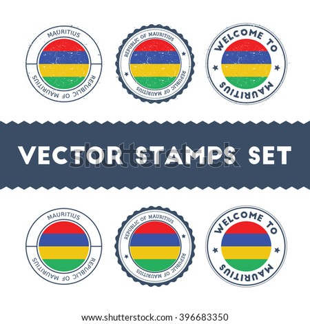 Mauritian Flag Grunge Rubber Stamp Designs of Mauritius National Colors. Set of Mauritian Flag Color Ink Stamps. Textured Vector Illustration.