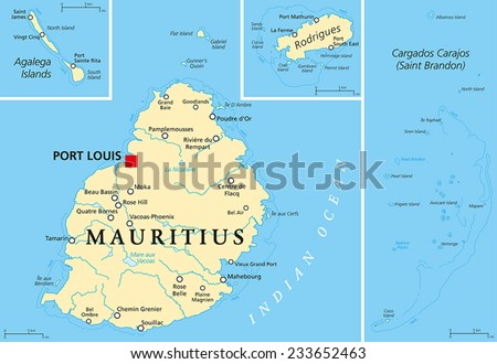 Mauritius Map Stock Images RoyaltyFree Images Vectors - Political map of mauritius