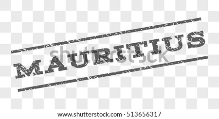 Mauritius watermark stamp. Text tag between parallel lines with grunge design style. Rubber seal stamp with unclean texture. Vector grey color ink imprint on a chess transparent background.