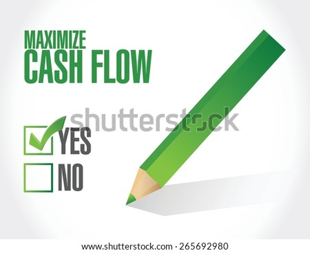 maximize cash flow check mark sign illustration design
