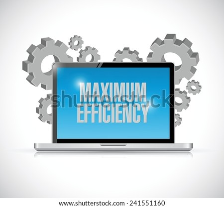 maximum efficiency computer sign illustration design over a white background - stock vector