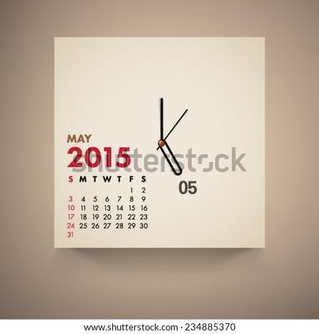 May 2015 Calendar Clock Design Vector  - stock vector