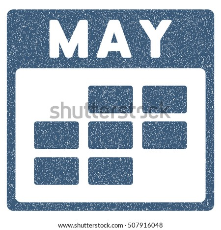 May Calendar Grid grainy textured icon for overlay watermark stamps. Flat symbol with dirty texture. Dotted vector blue ink rubber seal stamp with grunge design on a white background.