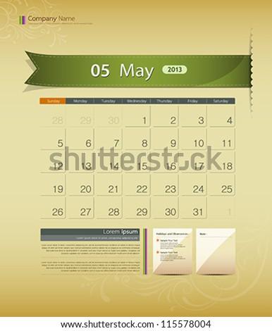 May 2013 calendar ribbon design, vector illustration - stock vector