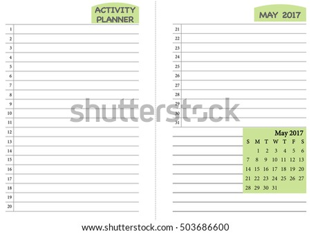 May 2017 Calendar Template Monthly Planner Template With Daily Routine  Check List, Activity Schedule Chart