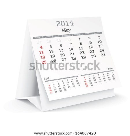 may 2014 - calendar - vector illustration