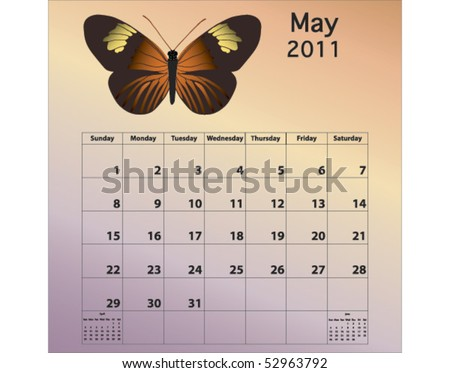 May 2011 calendar with butterfly - stock vector