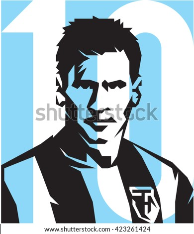 May 20, 2016: Footballer Lionel Messi ARGENTINA vector isolated portrait stylized illustration - stock vector