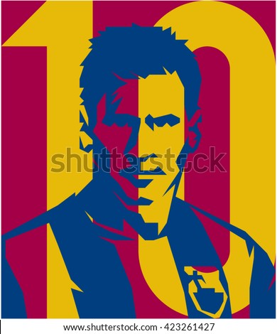 May 20, 2016: Footballer Lionel Messi FC BARCELONA vector isolated portrait stylized illustration