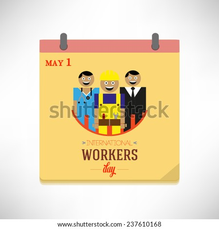 May 1, International Workers Day, flat design vector illustration on calendar page. - stock vector