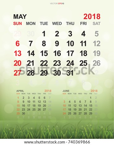 May 2018 Monthly Calendar Template 2018 Stock Vector 740369866