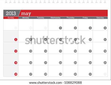 may 2013-planning calendar - stock vector