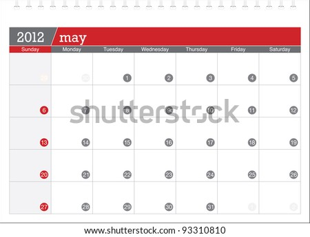may 2012-planning calendar - stock vector